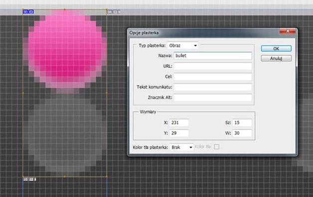CSS Sprites Edycja opcji plasterka