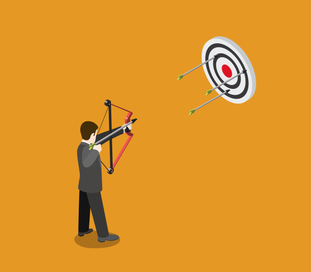 Business target concept flat 3d web isometric infographic vector. Businessman archer aims bow arrow to bull eye. Creative people collection.
