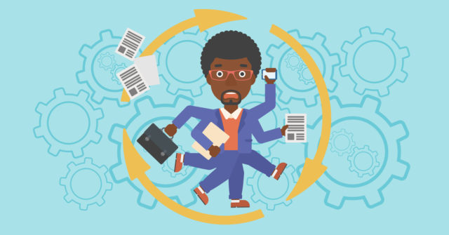 An african-american businessman with many legs and hands holding papers, briefcase, smartphone. Multitasking and productivity concept. Vector flat design illustration. Horizontal layout.